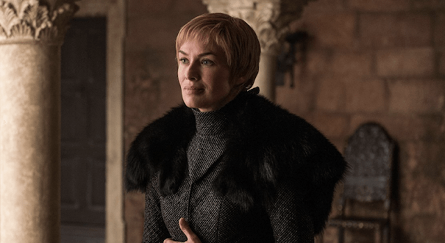 Cersei wears a black fur jacket.
