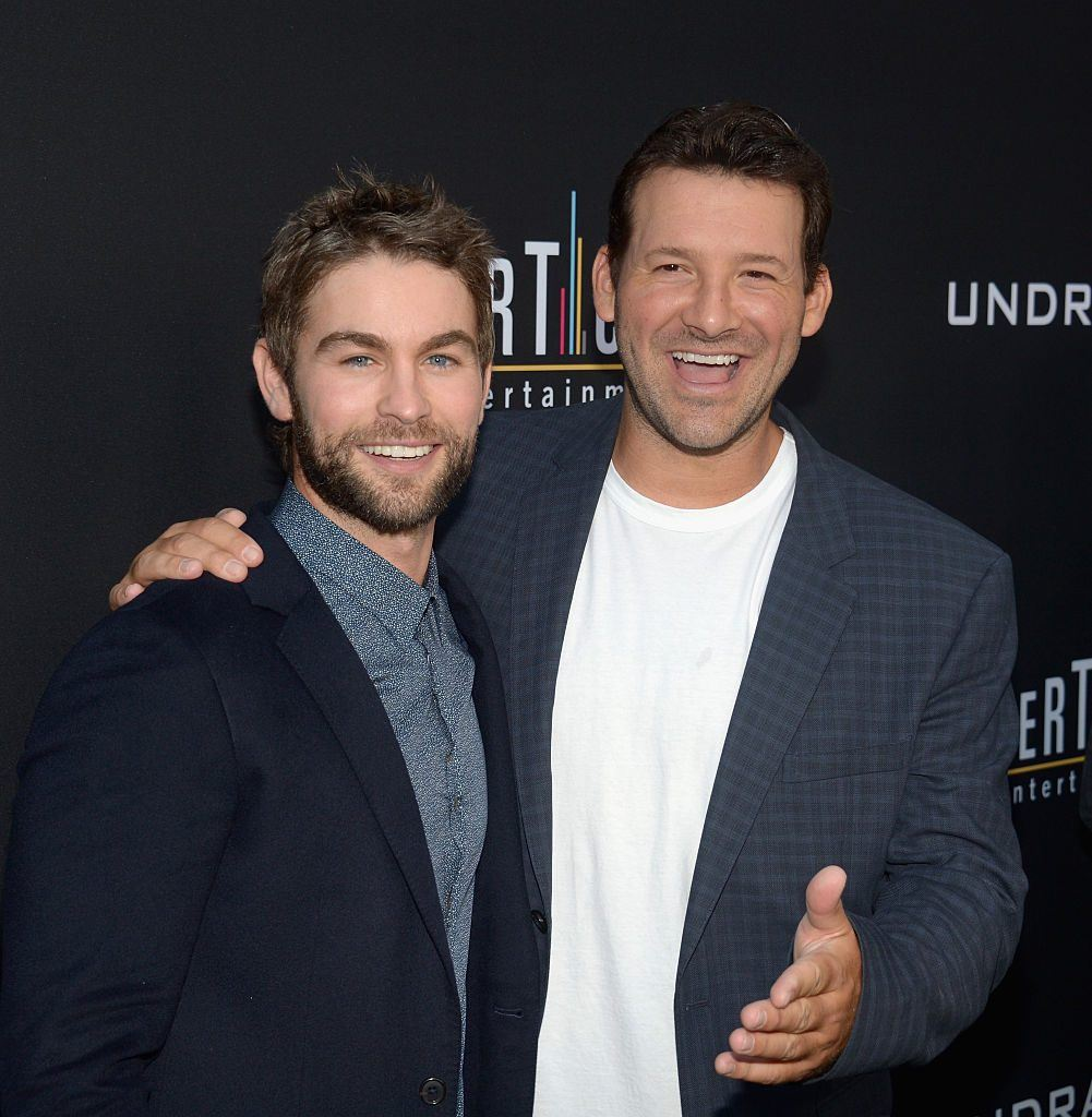 Chace Crawford and Tony Romo at a premier