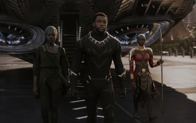 Chadwick Boseman, Danai Gurira, and Lupita Nyong'o in 'Black Panther'.