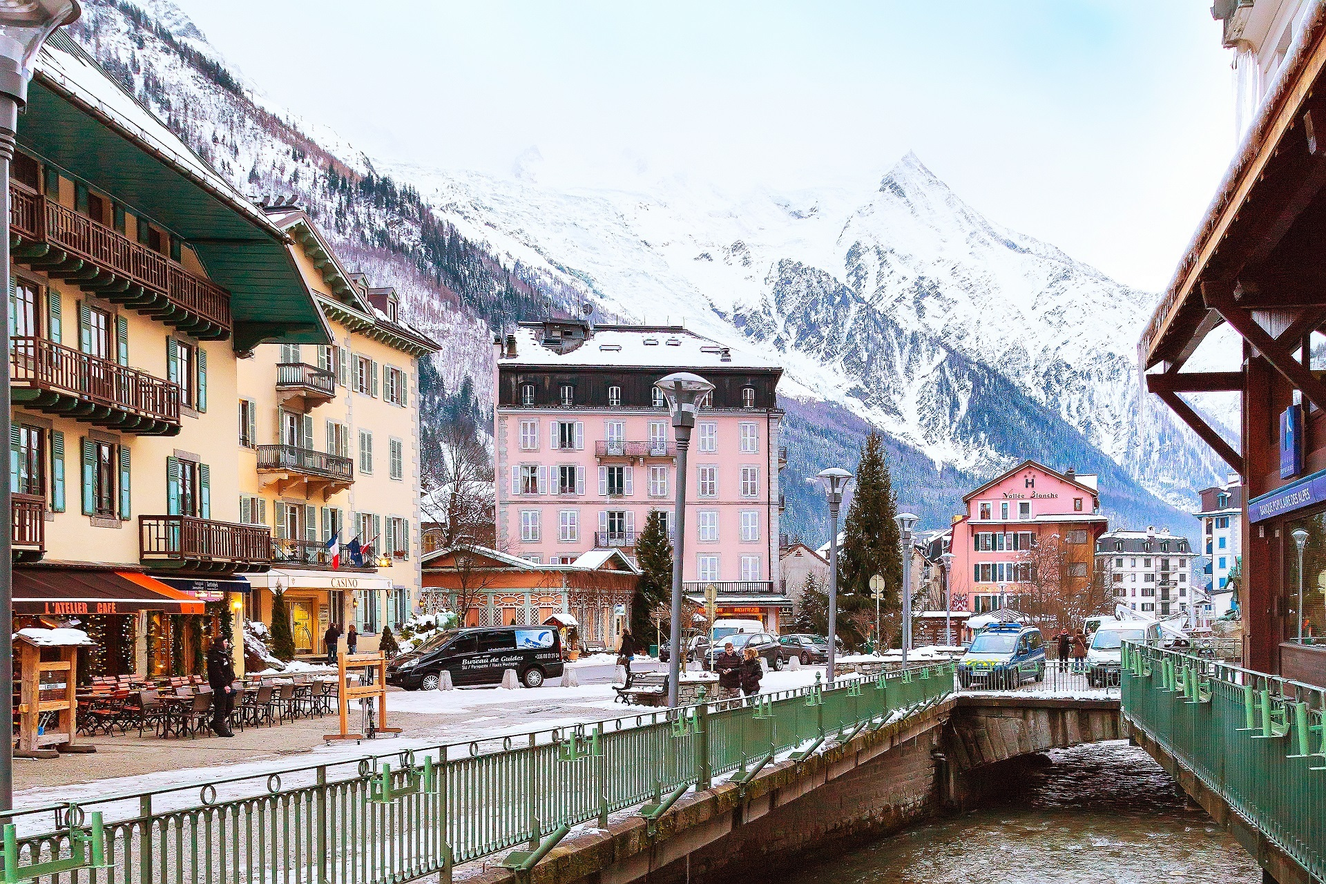 Street view in Chamonix town, French Alps, France