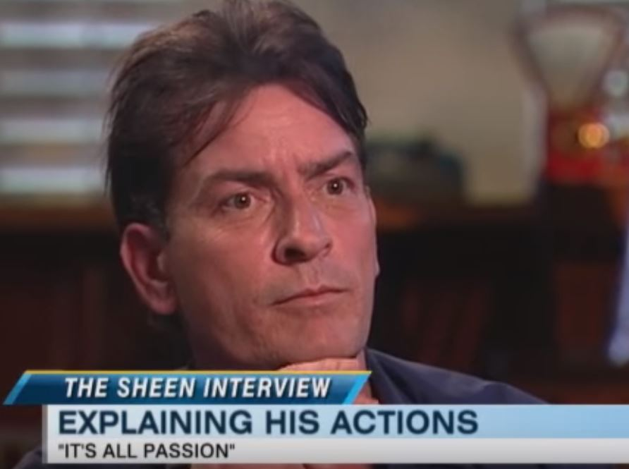 An interviewer talks to Charlie Sheen
