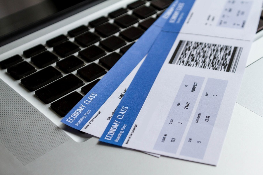 Airline tickets over the keyboard