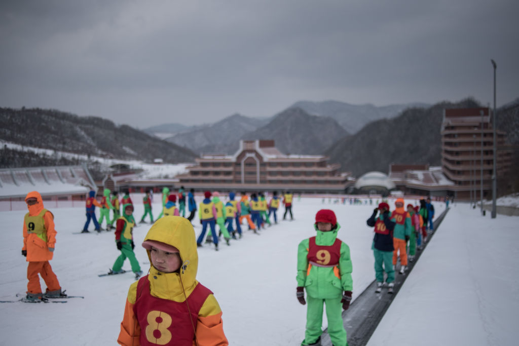 Children at North Korean ski resort