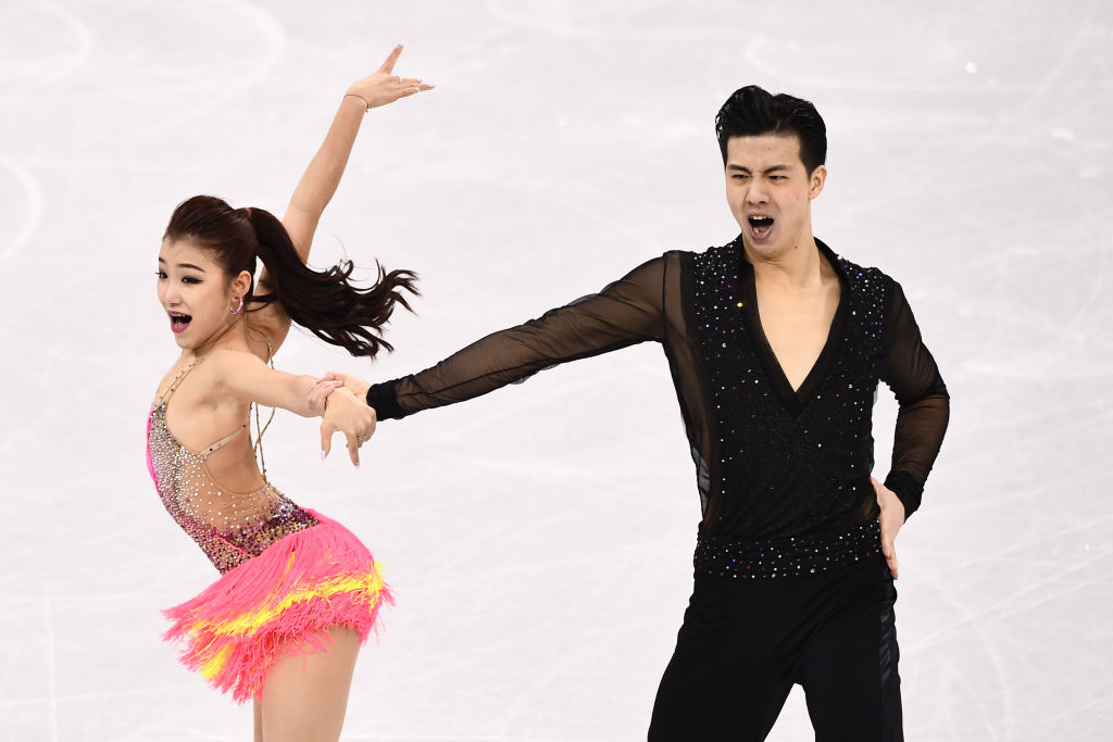 China's Wang Shiyue and China's Liu Xinyu compete in the ice dance short dance of the figure skating event