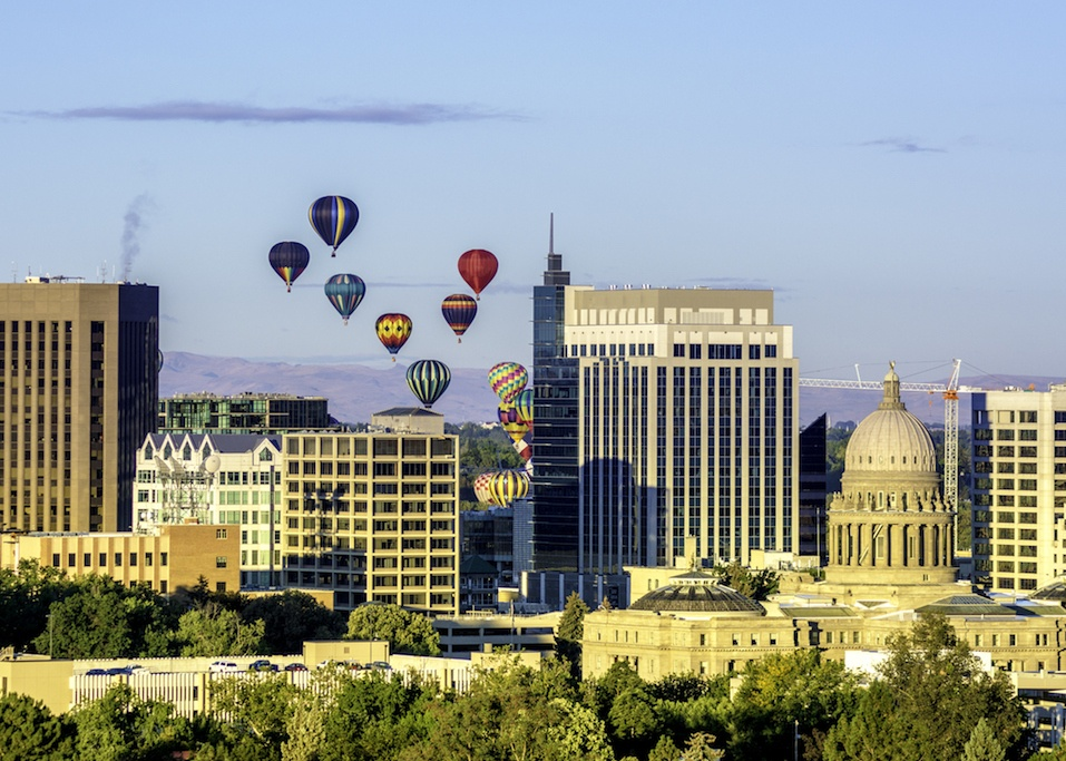 Hot air balloons over Boise Idaho