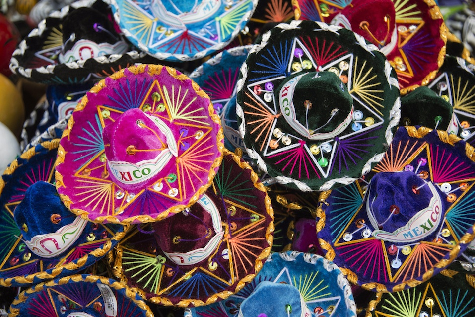 Colorful Mexican sombrero hats at an outdoor market