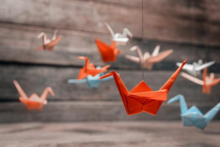 Colorful origami paper cranes