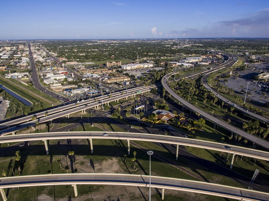 A birds eye view of the expressway in Harlingen, Tx
