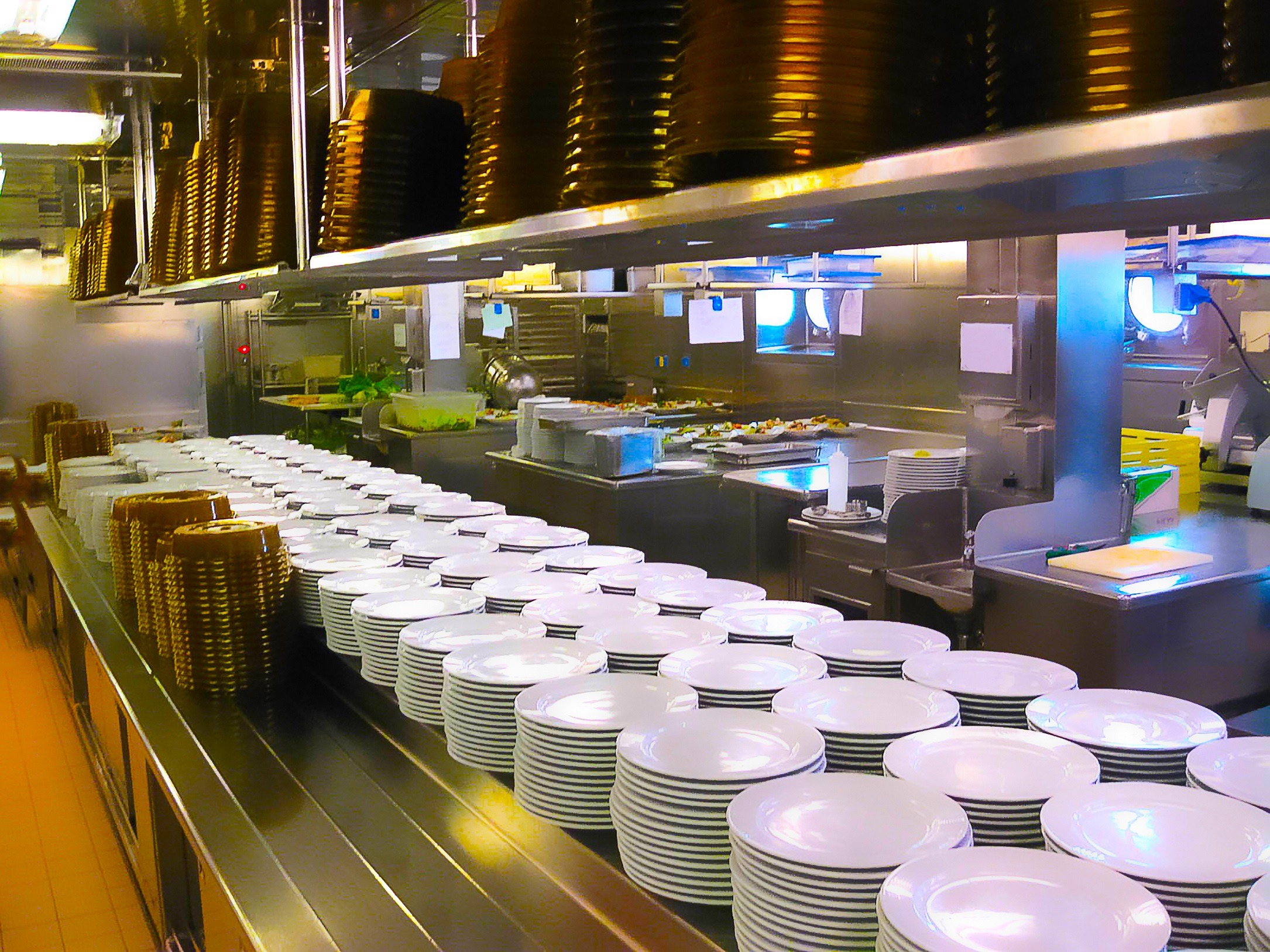 Kitchen of a cruise ship