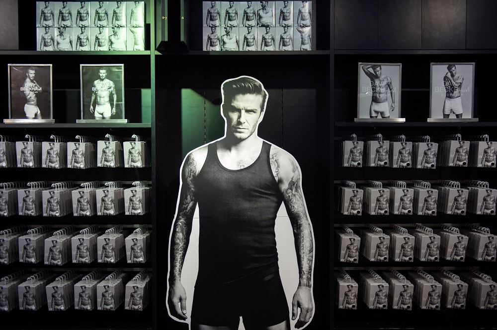 A line of underwear fronted by French football club Paris Saint Germain's English midfielder David Beckham
