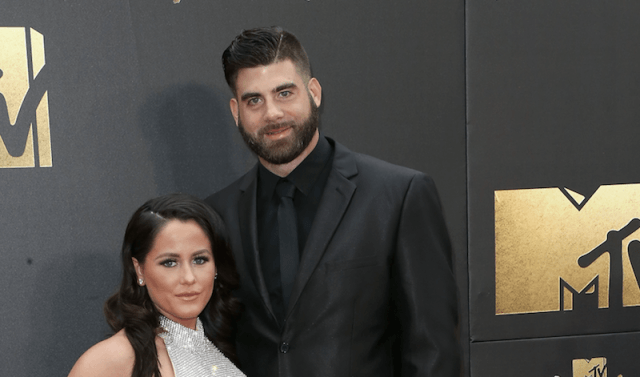 Jenelle and David on a red carpet at an event.