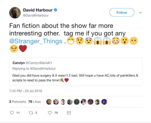David Harbor's tweet.