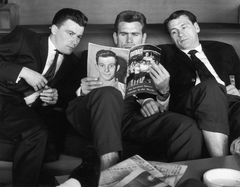 England footballers Johnny Byrne, Peter Swann and Bobby Robson are delayed at London Airport
