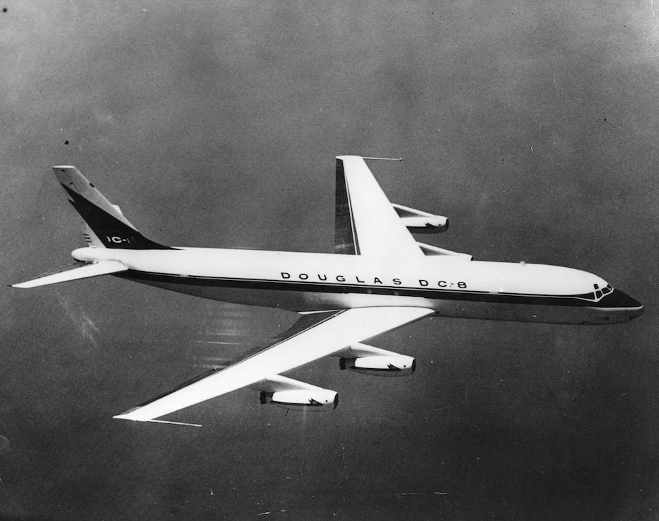 In flight view of the Douglas DC 8 passenger plane,
