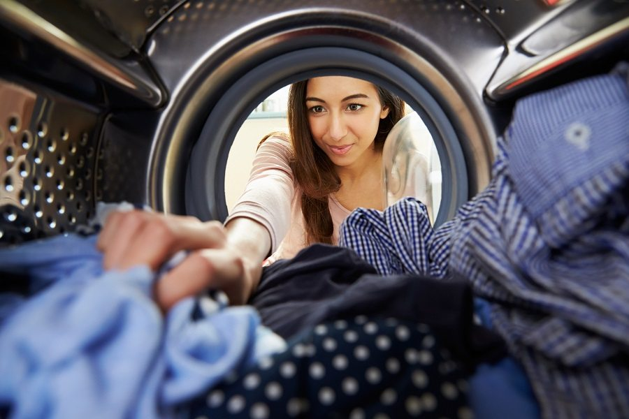 woman doing her laundry