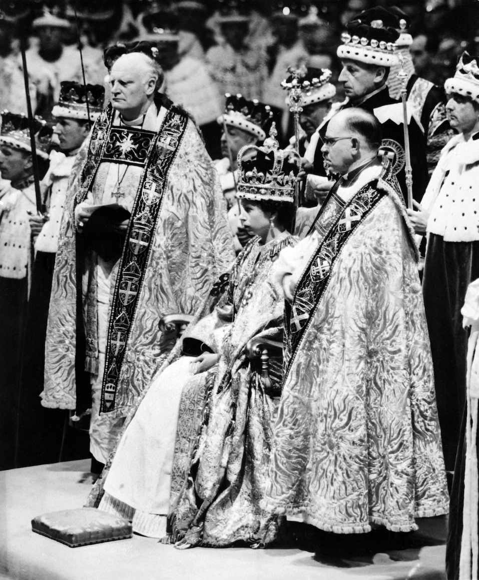 Queen Elizabeth II, surrounded by the bishop of Durham Lord Michael Ramsayand the bishop of Bath and Wells Lord Harold Bradfield, receives homage