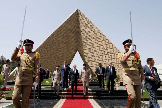 Egyptian soldiers standing guard.