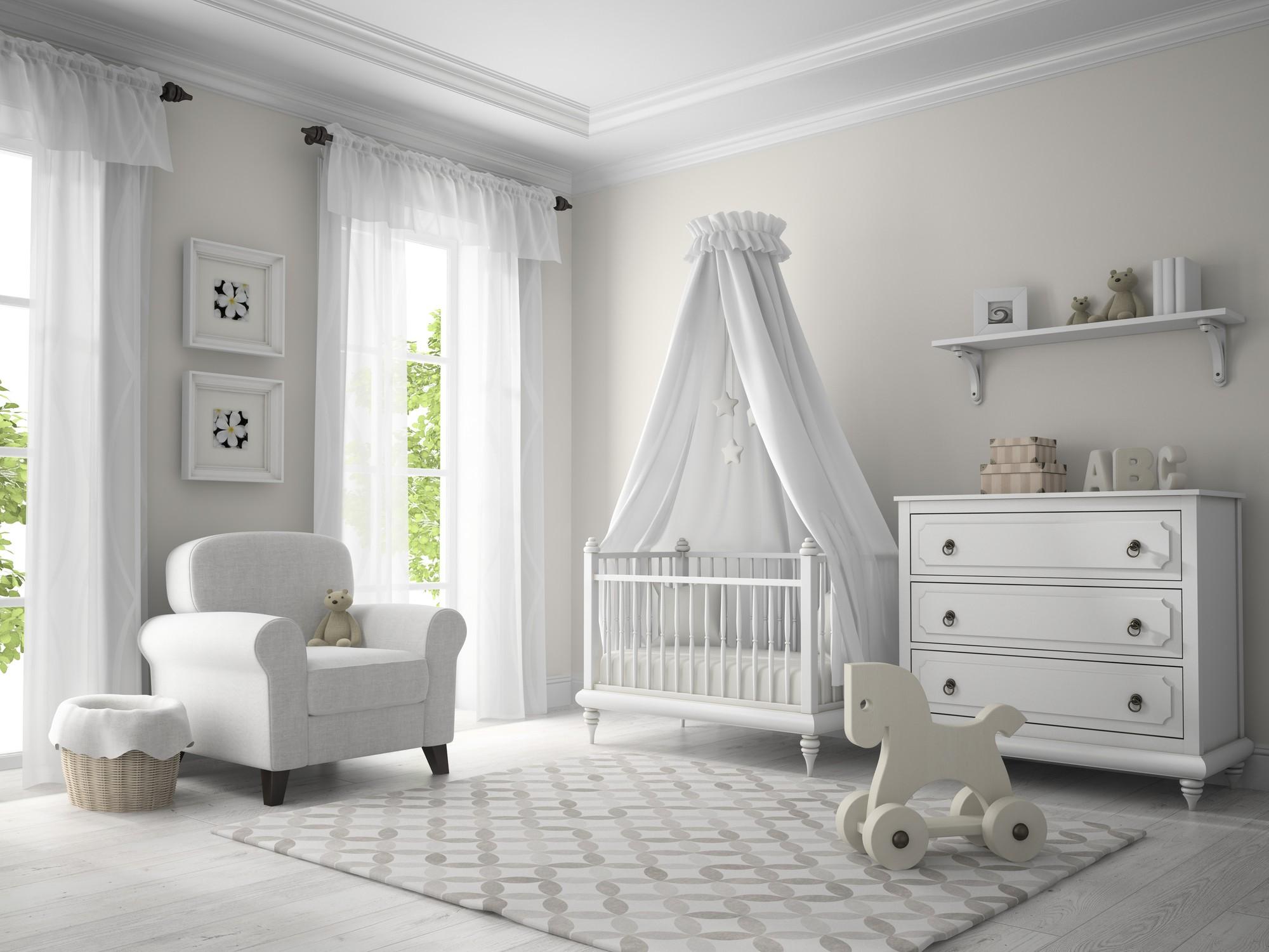 Elegant white nursery or baby's room