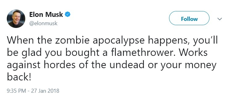 Elon Musk tweet zombie flamethrower