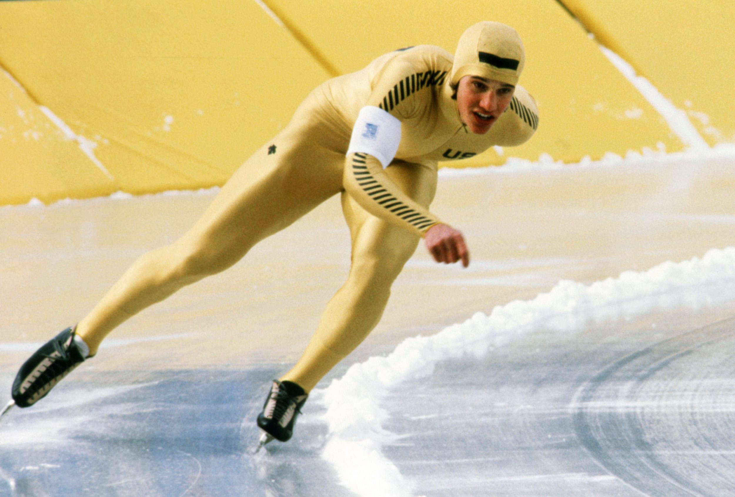 US speed skater Eric Heiden in a gold suit