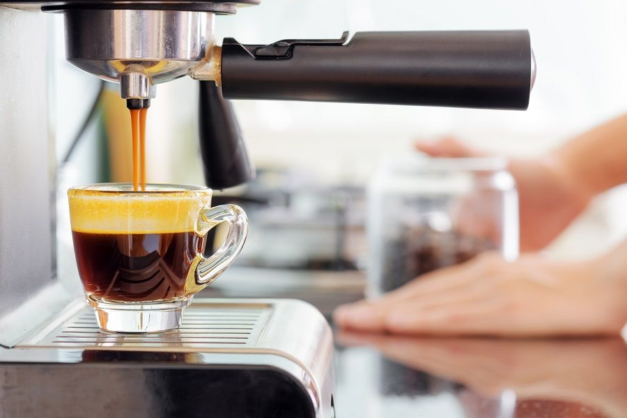Espresso coffee machine in kitchen