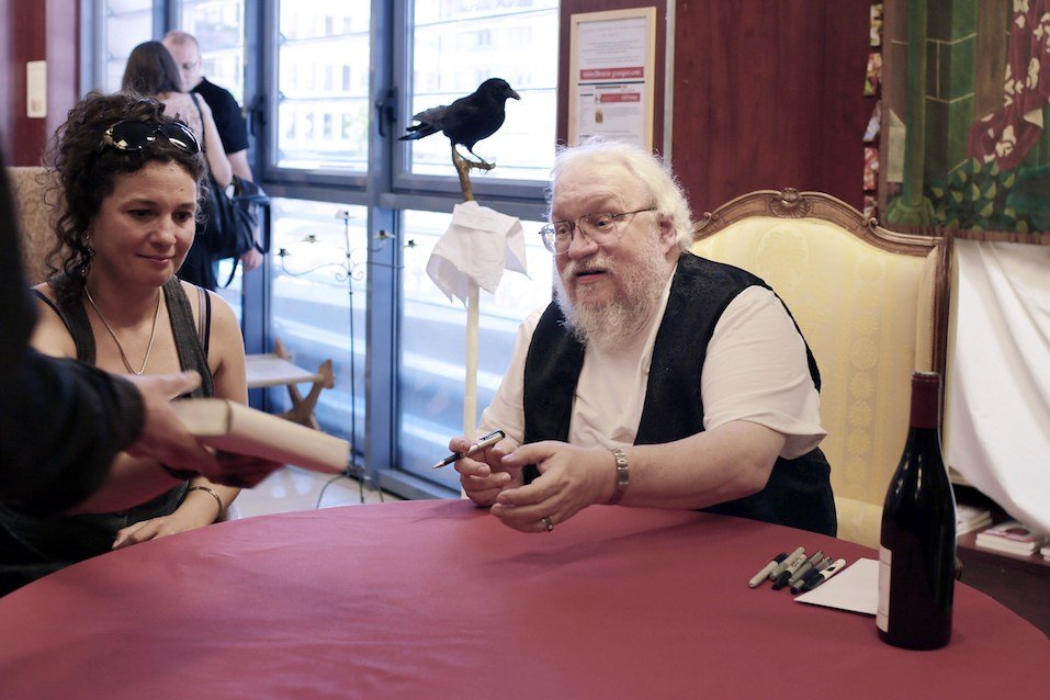 """US writer George RR Martin, author of the books """"Game Of Thrones"""", takes part in a book signing"""