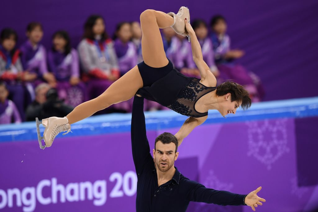 Canada's Meagan Duhamel and Canada's Eric Radford compete in the pair skating short