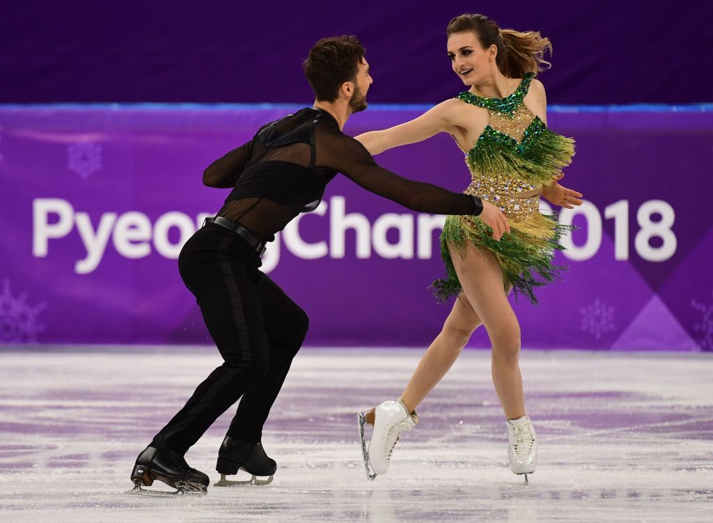 France's Gabriella Papadakis and France's Guillaume Cizeron compete in the ice dance short dance of the figure skating event