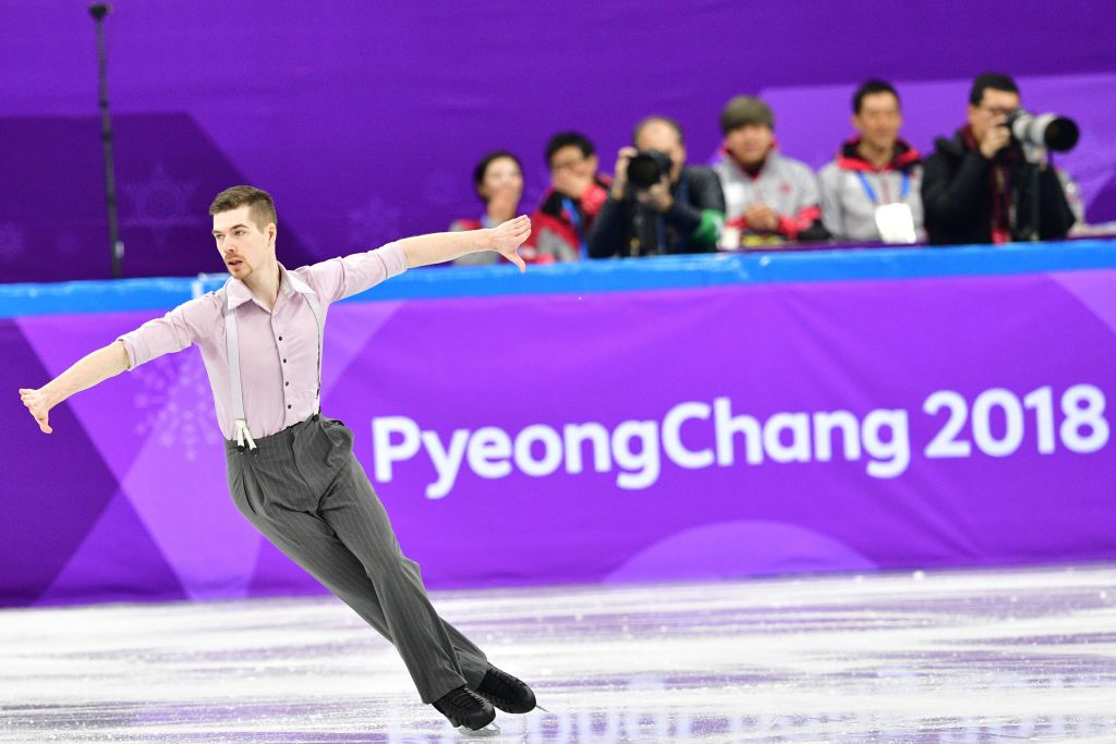 Germany's Paul Fentz competes in the figure skating team event men's single skating short program