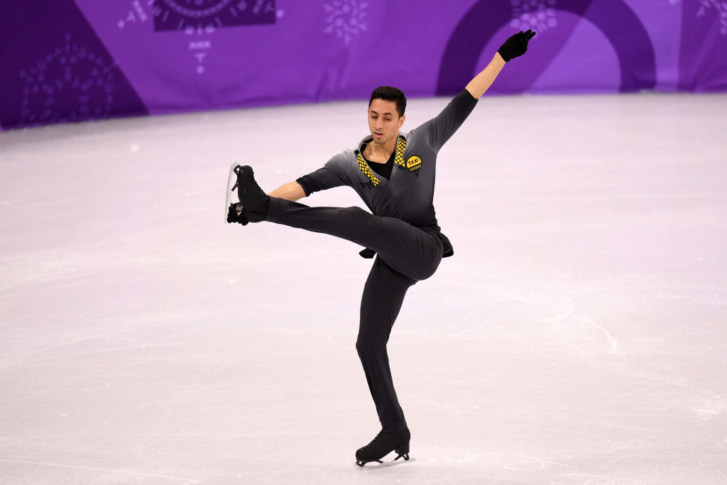 Chafik Besseghier of France competes in the Figure Skating Team Event
