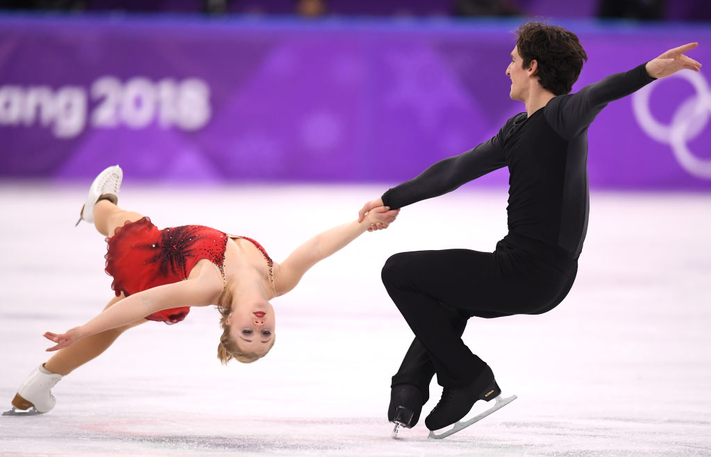 Julianne Seguin and Charlie Bilodeau of Canada compete during the Pair Skating Free Skating