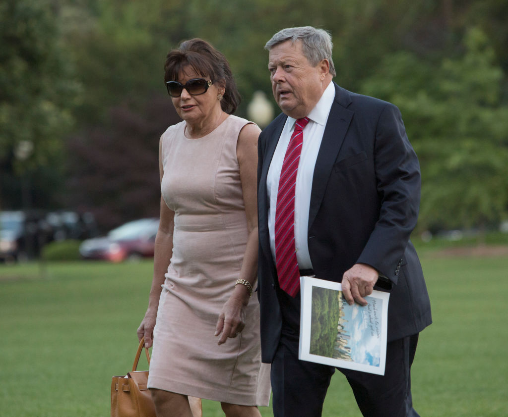 Viktor Knavs and Amalija Knavs arrive at the White House with the first family