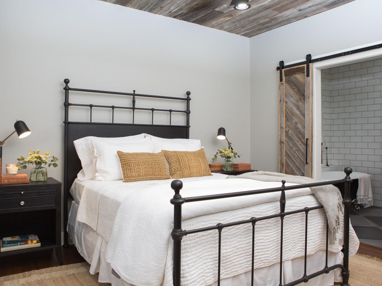 Fixer Upper bedroom with rug