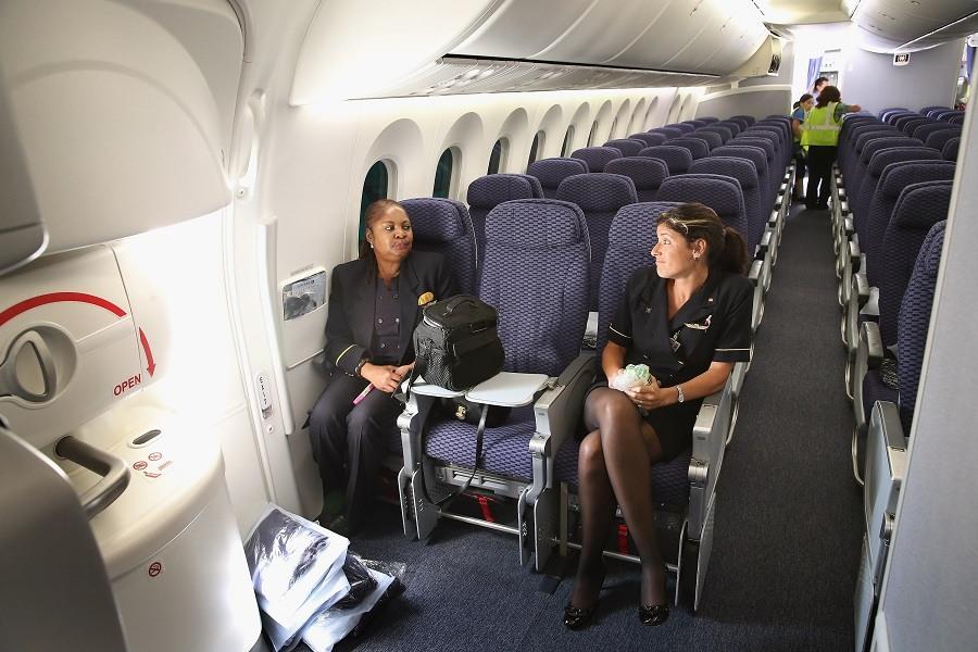 Flight attendants relax