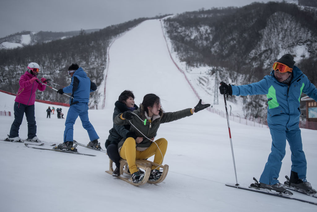 Tourists at North Korean ski resort