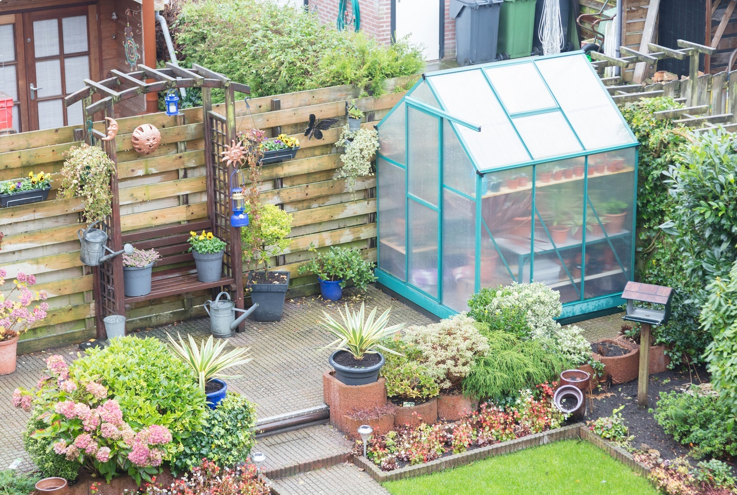 Small greenhouse in a garden