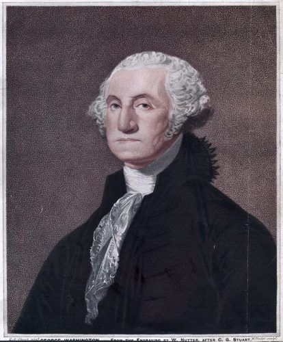 George Washington in a portrait.