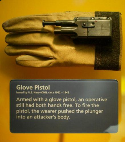 A glove pistol is displayed at the International Spy Museum. Spy Weapons