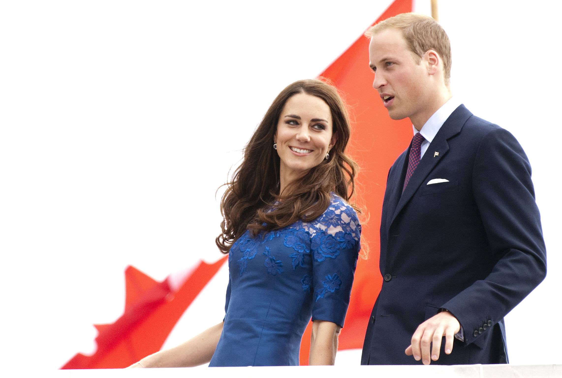 Prince William, Duke of Cambridge and Catherine, Duchess of Cambridge disembark HMCS Montreal in Champlain Harbour on July 3, 2011 in Quebec, Canada.