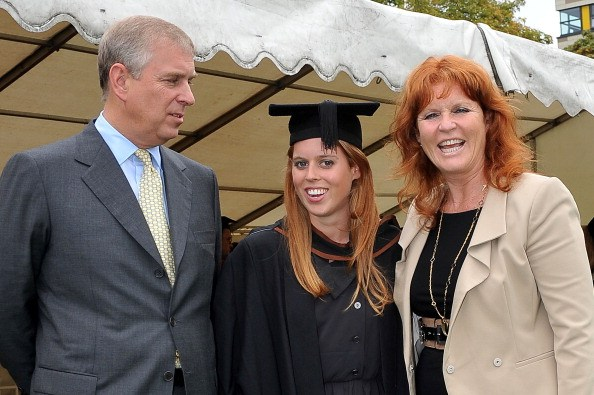 Prince Andrew, The Duke York (L), Sarah, Duchess of York (R) and their daughter, Princess Beatrice, following her graduation ceremony