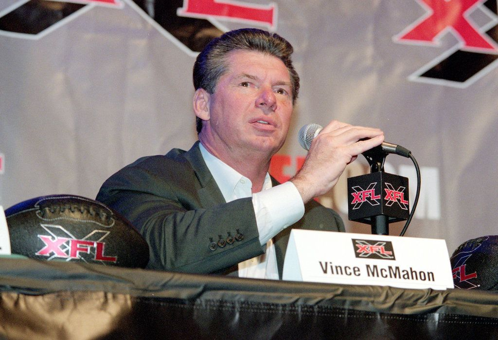 Vince McMahon talks during the XFL Press Conference, 2000