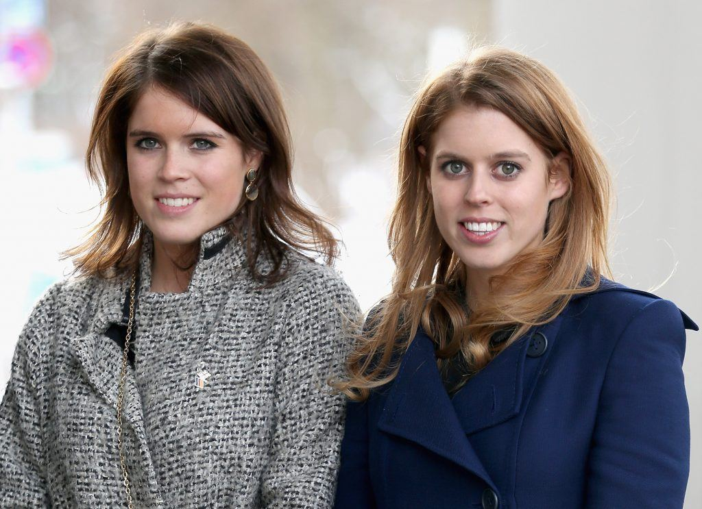 Princess Beatrice and Princess Eugenie arrive to call on Minister David McAllister of Lower Saxony on January 18, 2013 in Hanover, Germany.