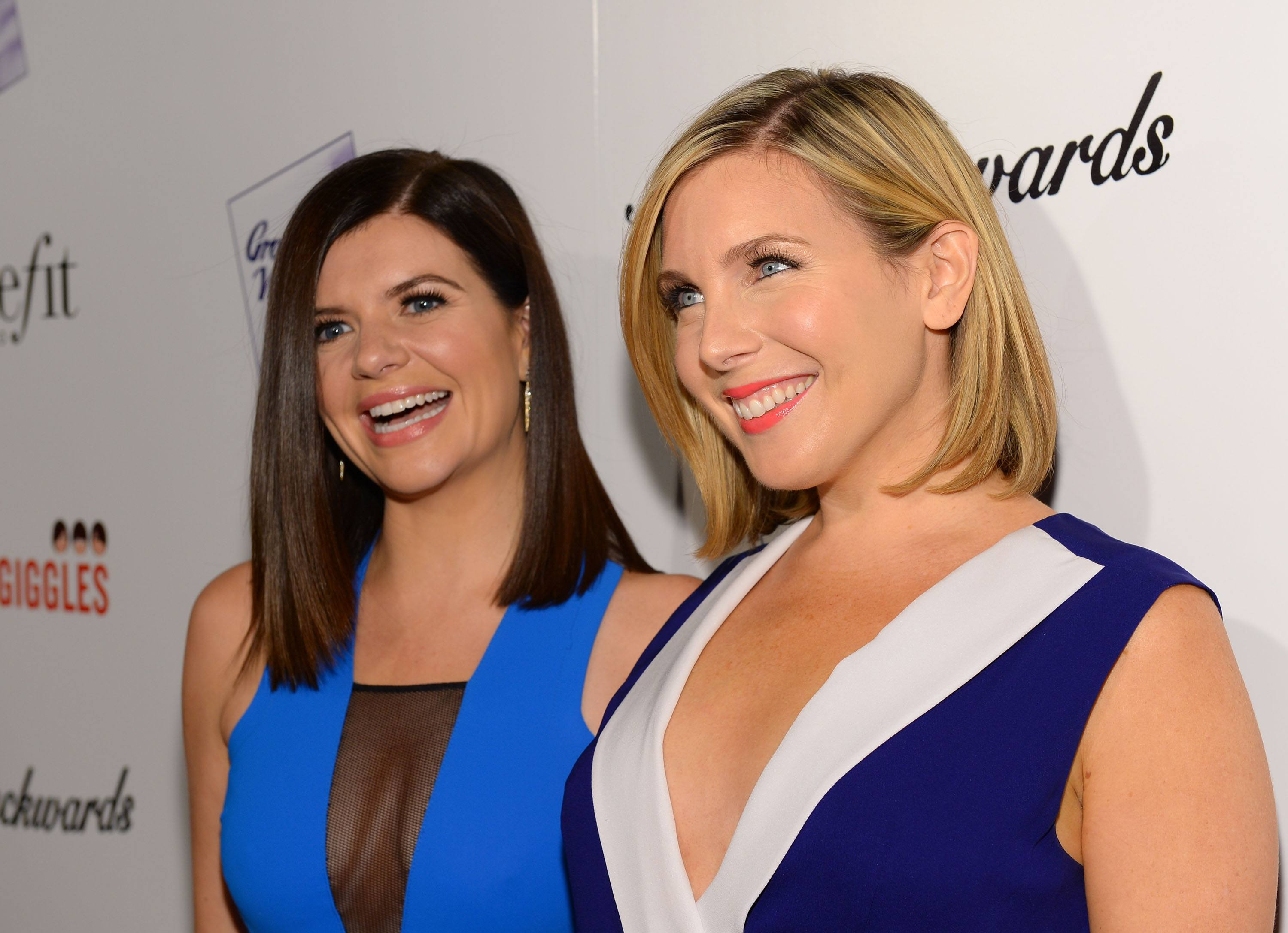 Actress Casey Wilson and June Diane Raphael attend the premiere of Gravitas Ventures' 'Ass Backwards' at the Vista Theatre on October 30, 2013 in Los Angeles, California.