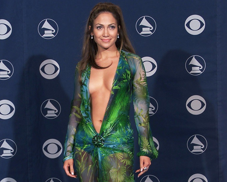 Jennifer Lopez in Versace at the 42nd Grammy Awards held in Los Angeles, CA on February 23, 2000
