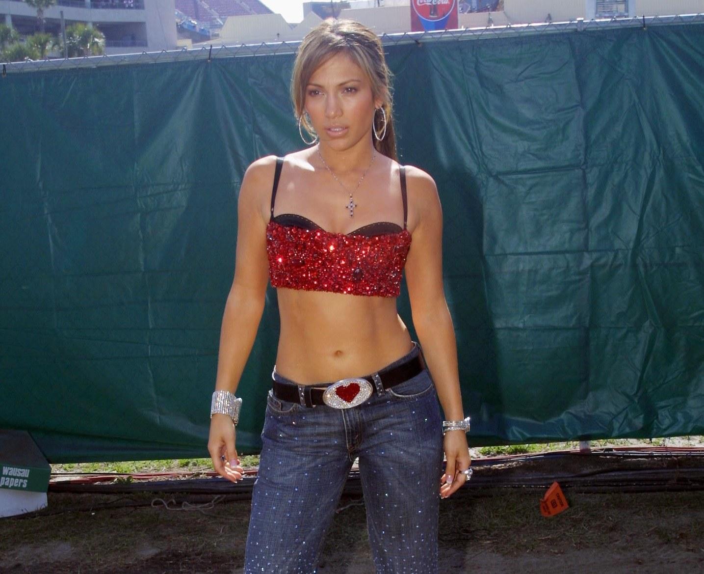Jennifer Lopez backstage before MTV's TRL on Superbowl Sunday at Raymond James Stadium in Tampa, Florida on Jan. 28, 2001.