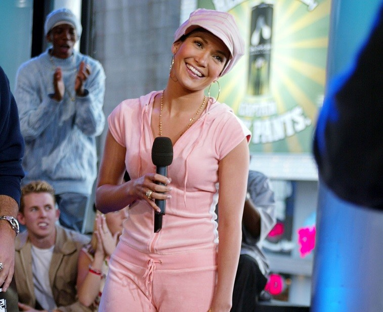 Jennifer Lopez during TRL at the MTV Studios in New York City on May 22, 2002.