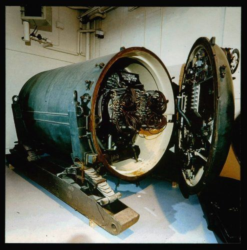 """A picture is seen on display of a seven tonne nuclear landmine codenamed """"Blue Peacock"""" at an exhibition of secret nuclear plans from the cold war at the National Records Office in London."""