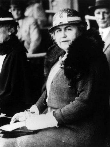 First Lady Edith Wilson in a black and white photograph.