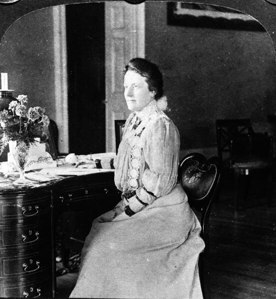 Edith Roosevelt sitting at her desk