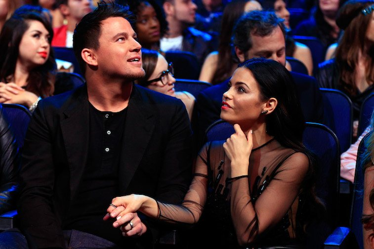 Honoree Channing Tatum (L) and actress Jenna Dewan Tatum attend the 2014 MTV Movie Awards at Nokia Theatre L.A. Live on April 13, 2014 in Los Angeles, California.